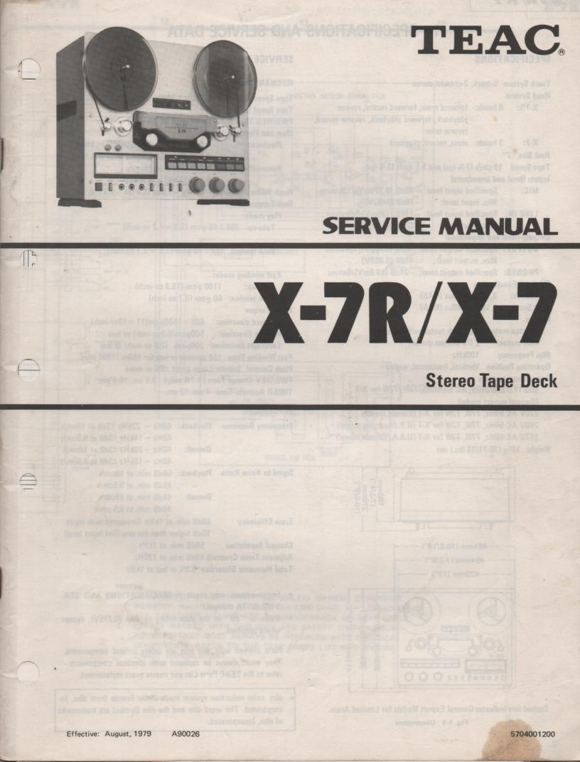 X-7 X-7R Reel to Reel Service Manual