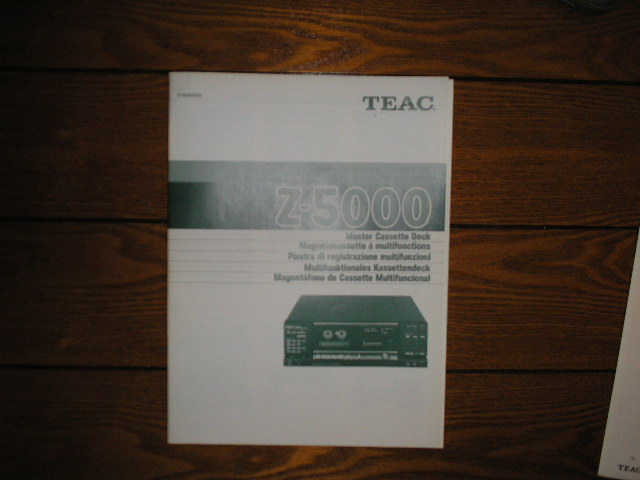 Z-5000 Master Cassette Deck Owners Manual