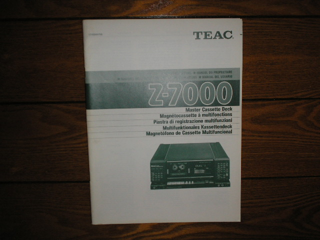 Z-7000 Master Cassette Deck Owners Manual