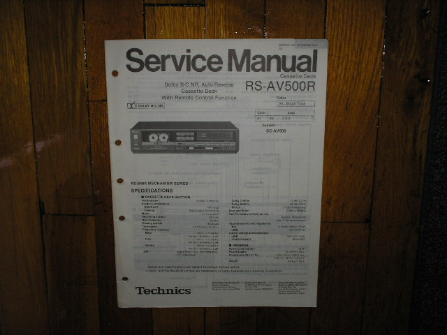 RS-AV500R Cassette Deck Service Manual