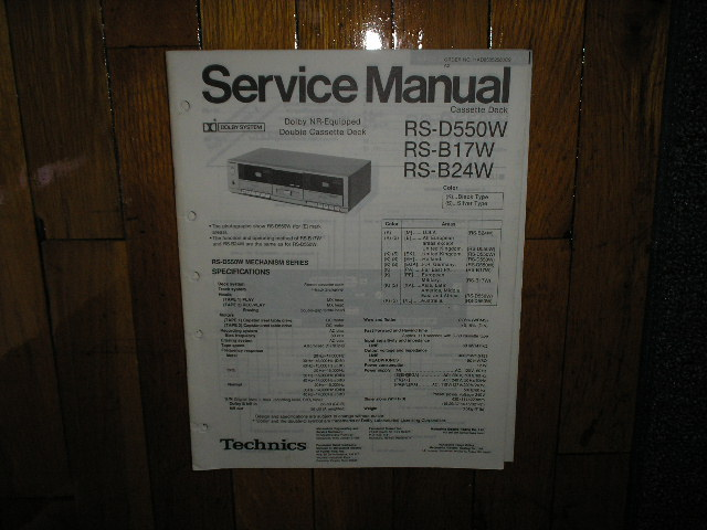 RS-B17W BS-BS24W BS-D550W Cassette Deck Service Manual.