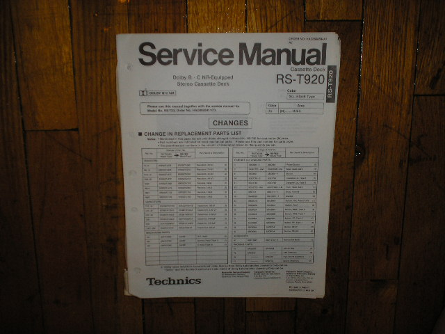 RS-T920 Cassette Deck Service Manual