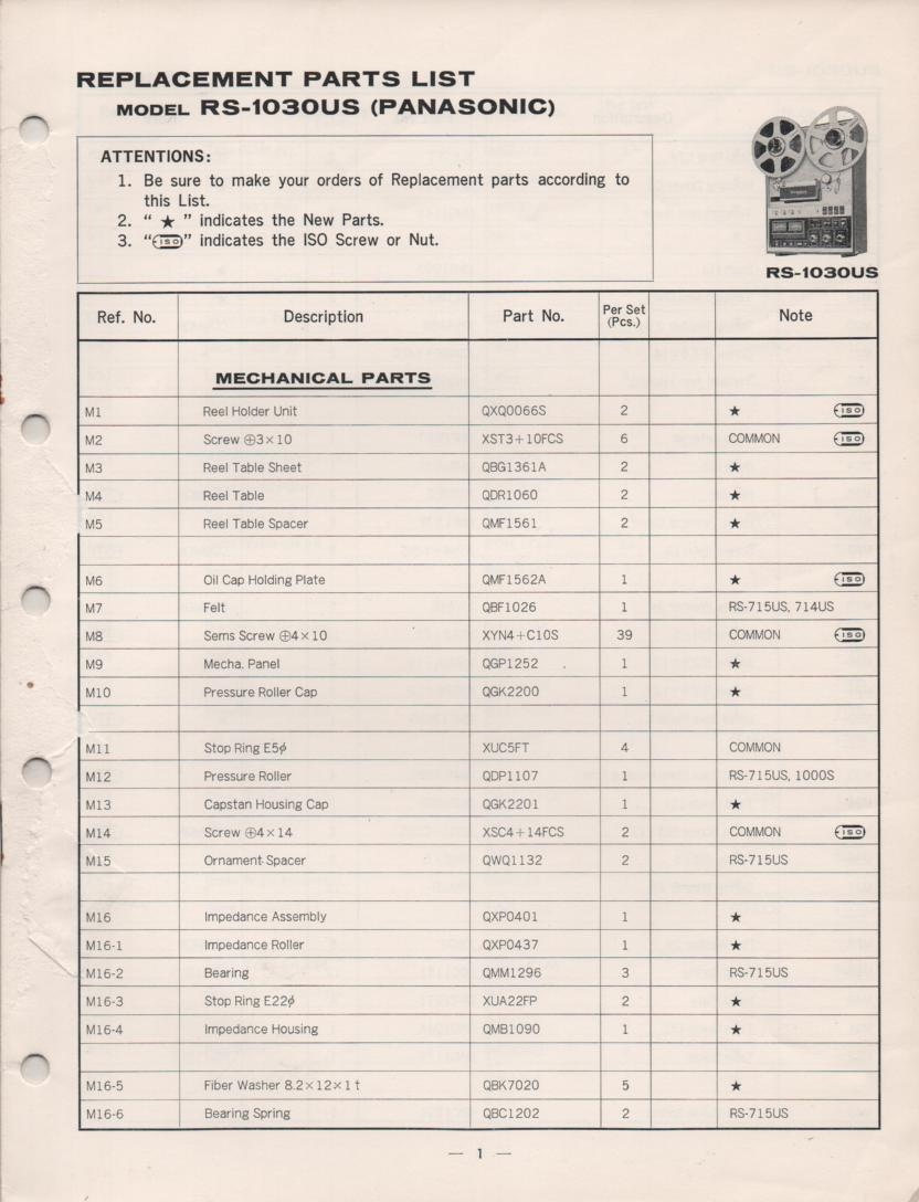 RS-1030US Reel to Reel Parts Service Manual.