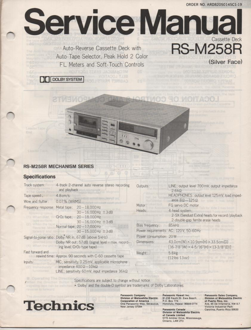 RS-M258R Cassette Deck Service Manual..