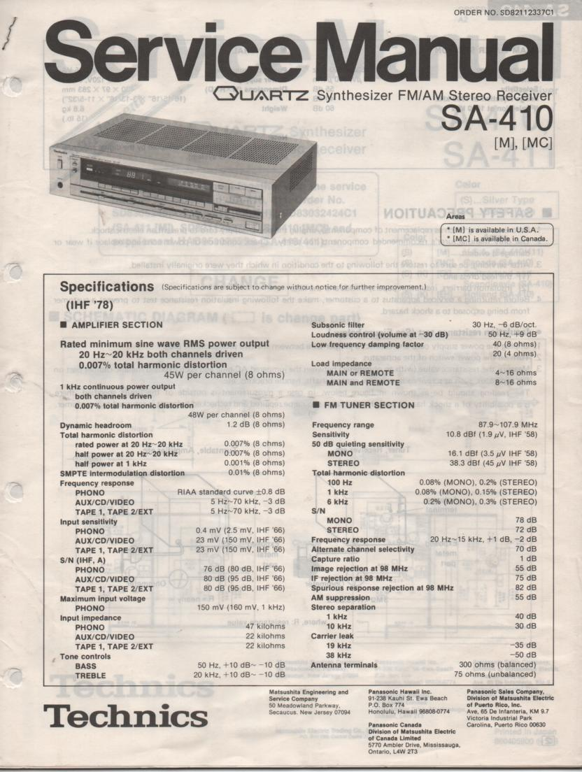SA-410 Receiver Service Instruction Manual