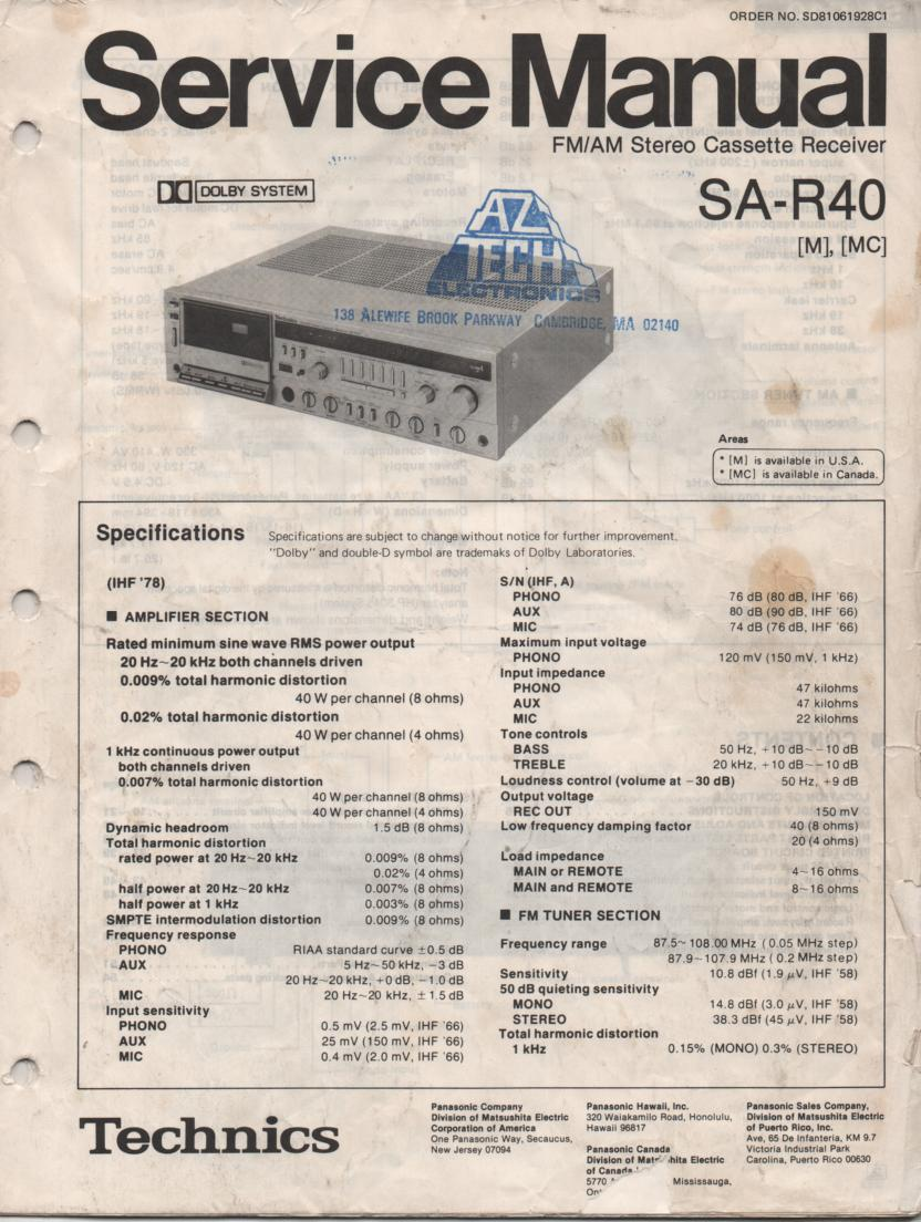 SA-R40 Cassette Receiver Service Instruction Manual