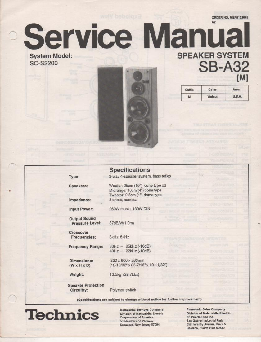 SB-A32 Speaker System Service Manual