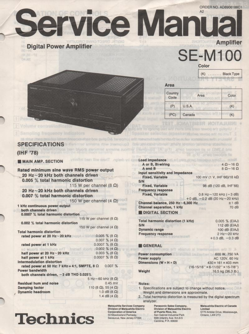 SE-M100 Power Amplifier Service Manual