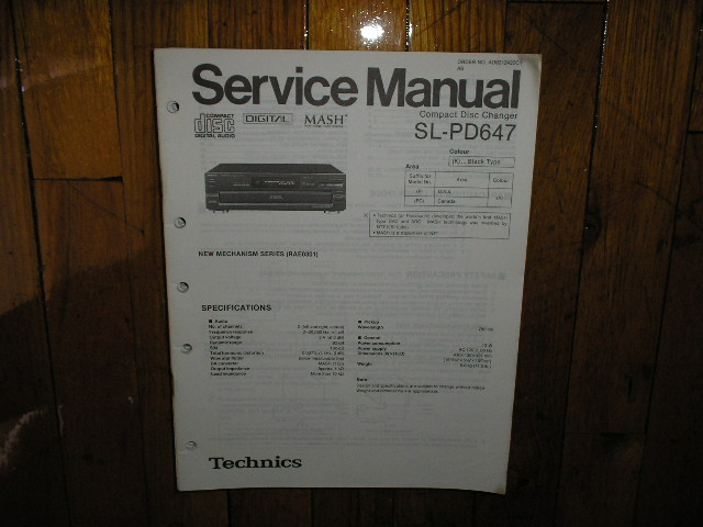 SL-PD647 CD Player Service Manual