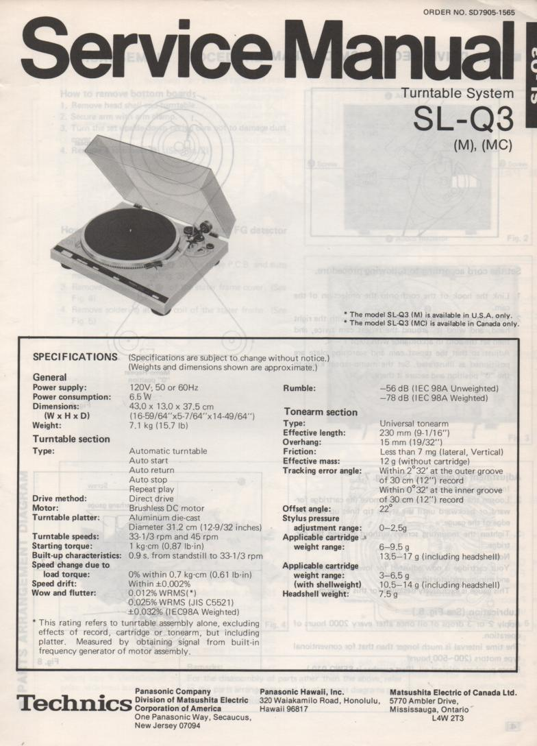 SL-Q3 Turntable Service Manual covers M MC versions. Comes with supplement