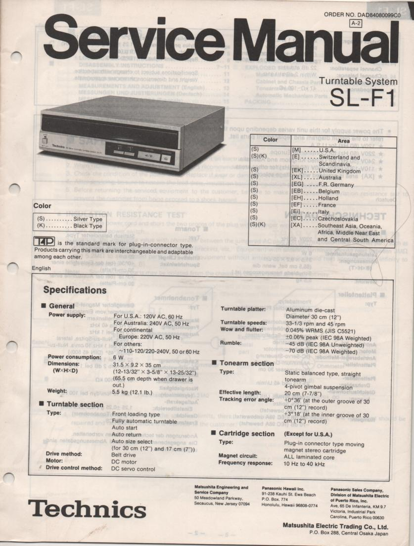 SL-F1 Turntable Service Instruction Manual