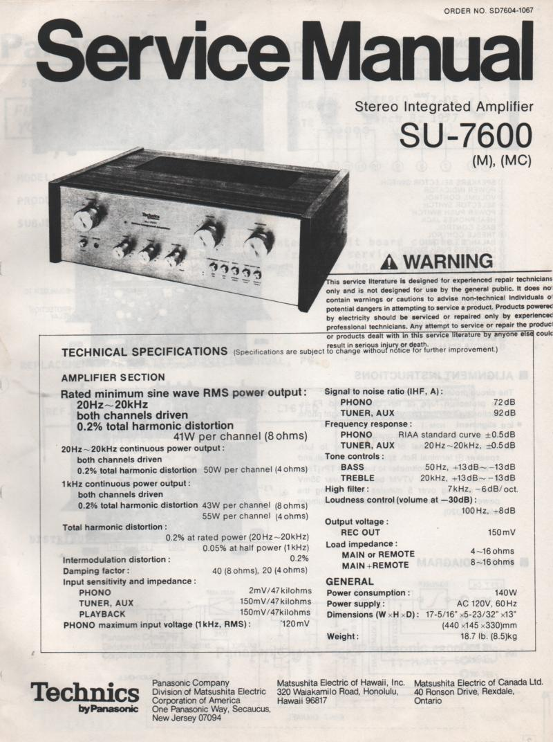 SU-7600 Amplifier Service Manual