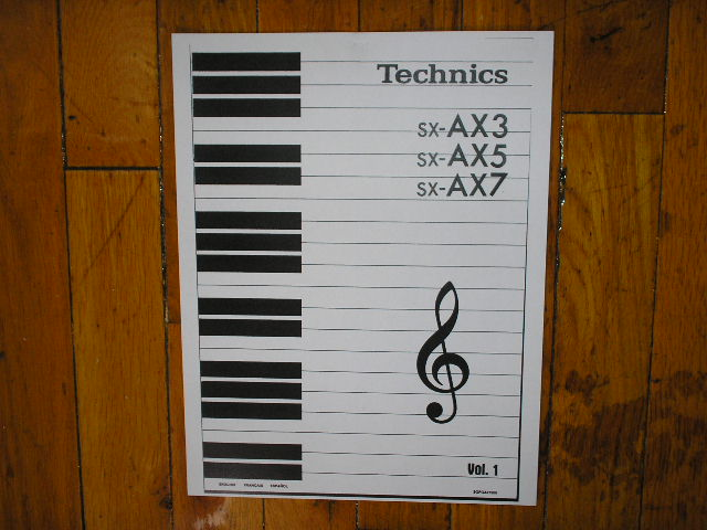 SX-AX3 SX-AX5 SX-AX7 Synthesizer Keyboard Operating Instruction Manual. 3 Manual Set..