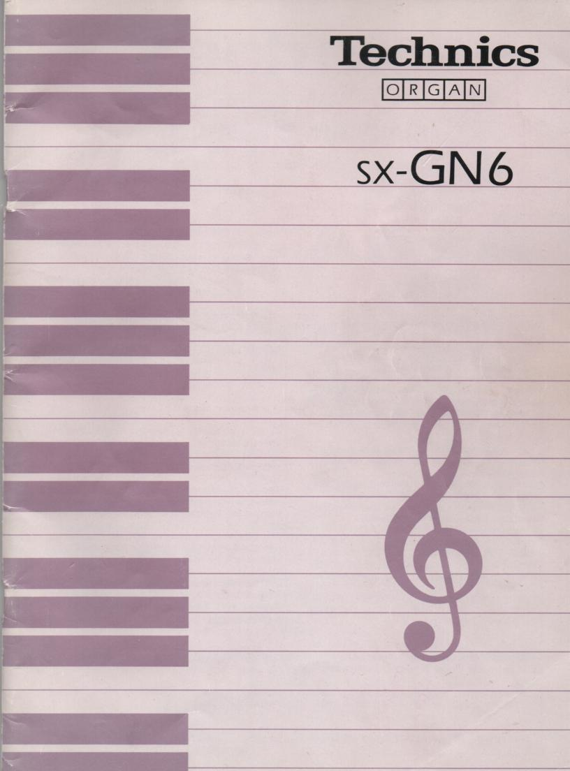 SX-GN6 Electric Organ Operating Instruction Manual. 