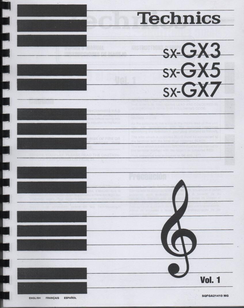 SX-GX3 Electric Organ Basic Operating Instruction Manual. 3 Manual set