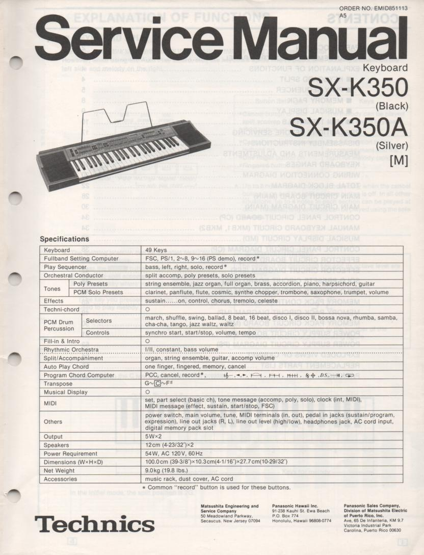 SX-K350 SX-K350A Electric Organ Service Manual