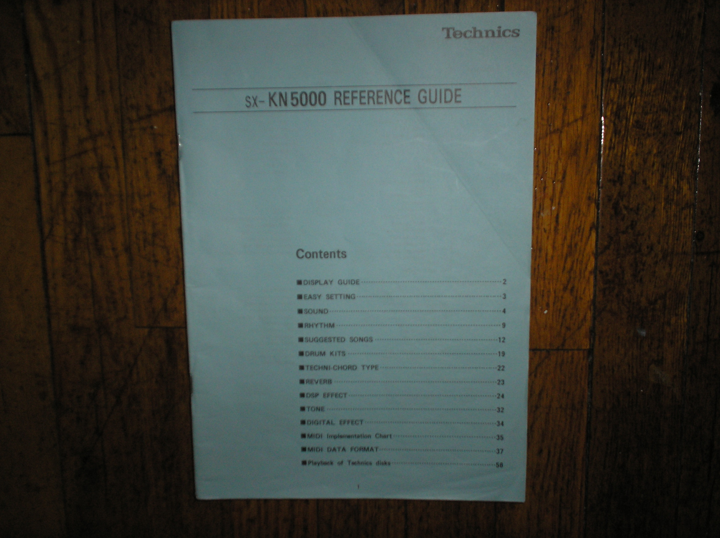 SX-KN5000 Organ Keyboard MIDI Reference Manual