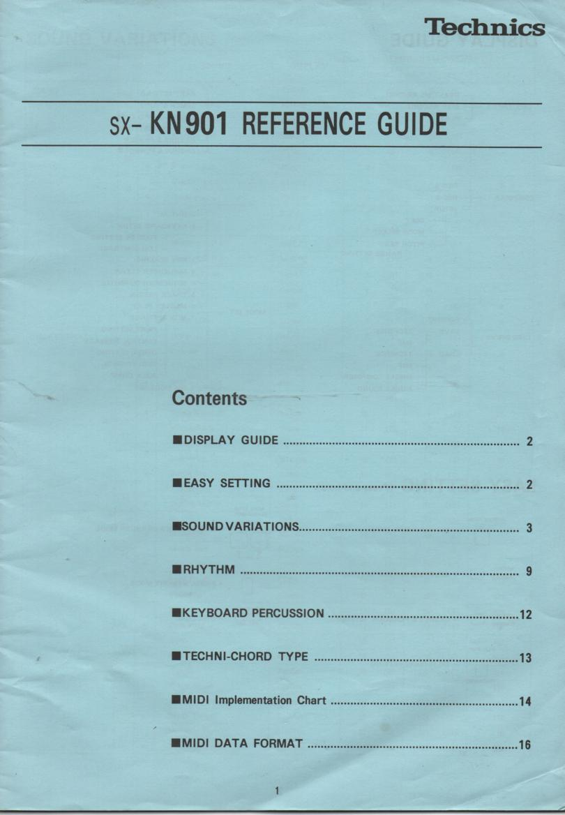 SX-KN901 Keyboard MIDI Reference Owners Manual..