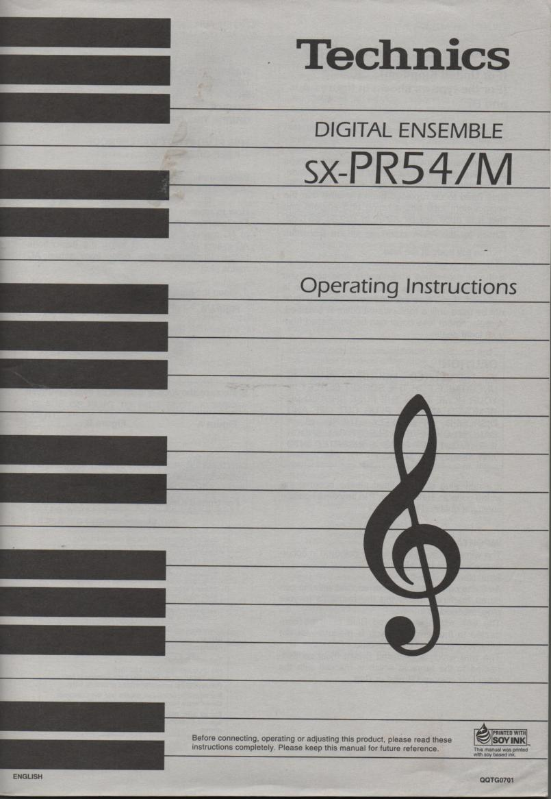 SX-PR54 SX-PR54M Digital Ensemble Operating Instruction Manual