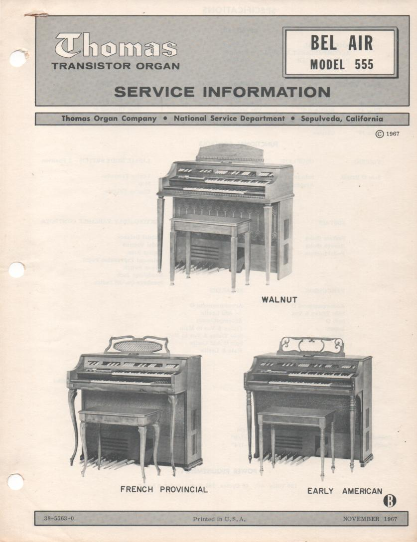 555 Bel Air Organ Service Manual
