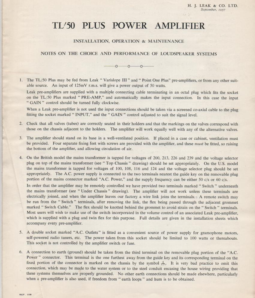 TL-50 Plus Power Amplifier Service Manual