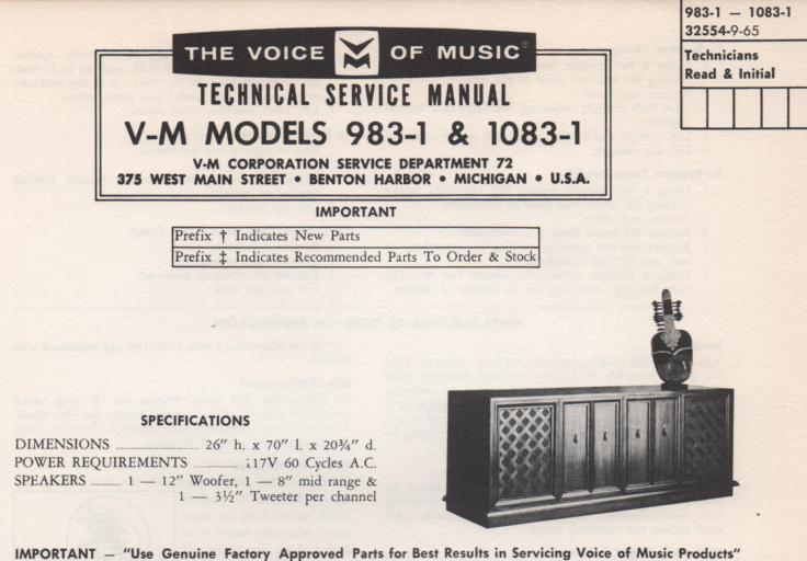 1083-1 Console Service Manual. Comes with 1297 changer manual 20224 amplifier tuner manual and 1482-1 reel to reel manual