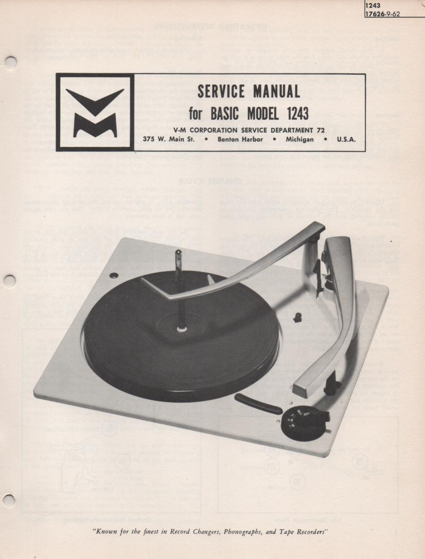 1243 Record Changer Service Manual