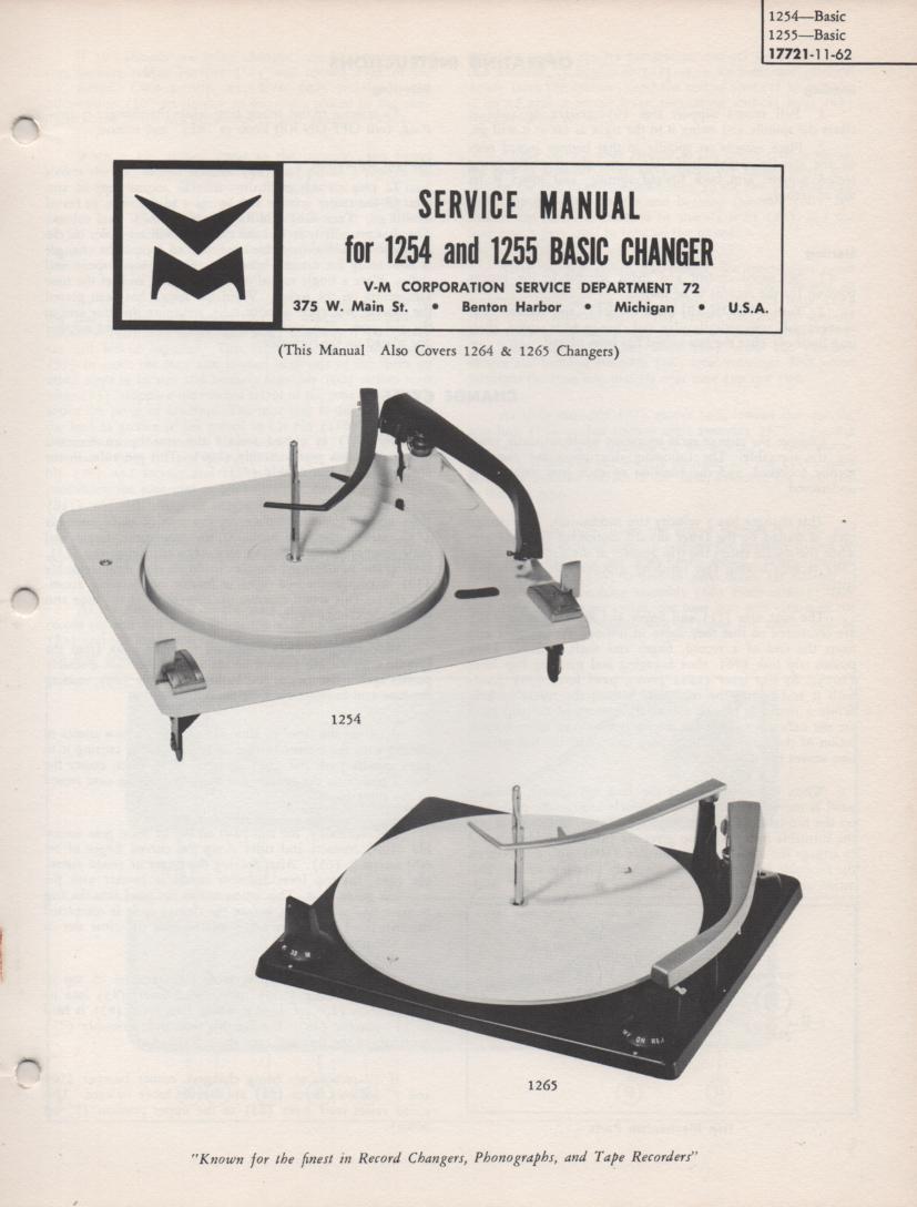 1254 1255 Record Parts Service Manual