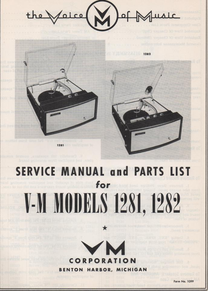 1281 1282 Record Player Service Manual