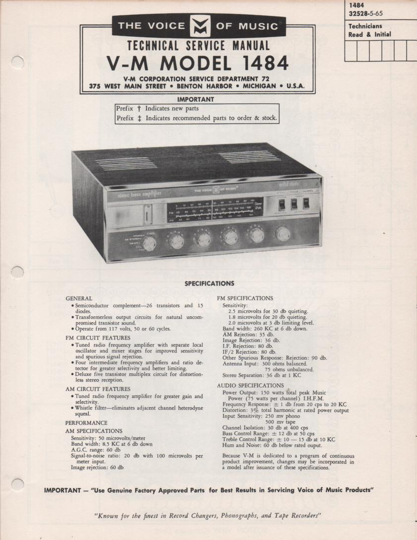 1484 Receiver Service Manual