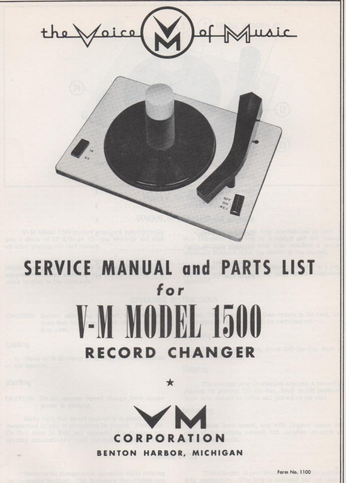 1500 Record Changer Service Manual