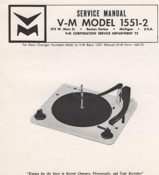 1551-2 Record Changer Service Manual.  comes with 1201 manual;