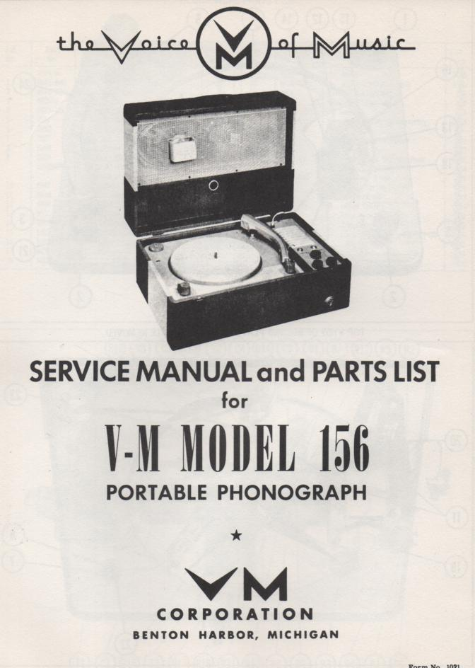 156 Portable Phonograph Service Manual