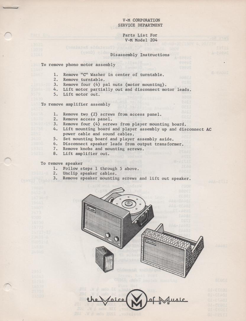 204 Phonograph Service Manual
