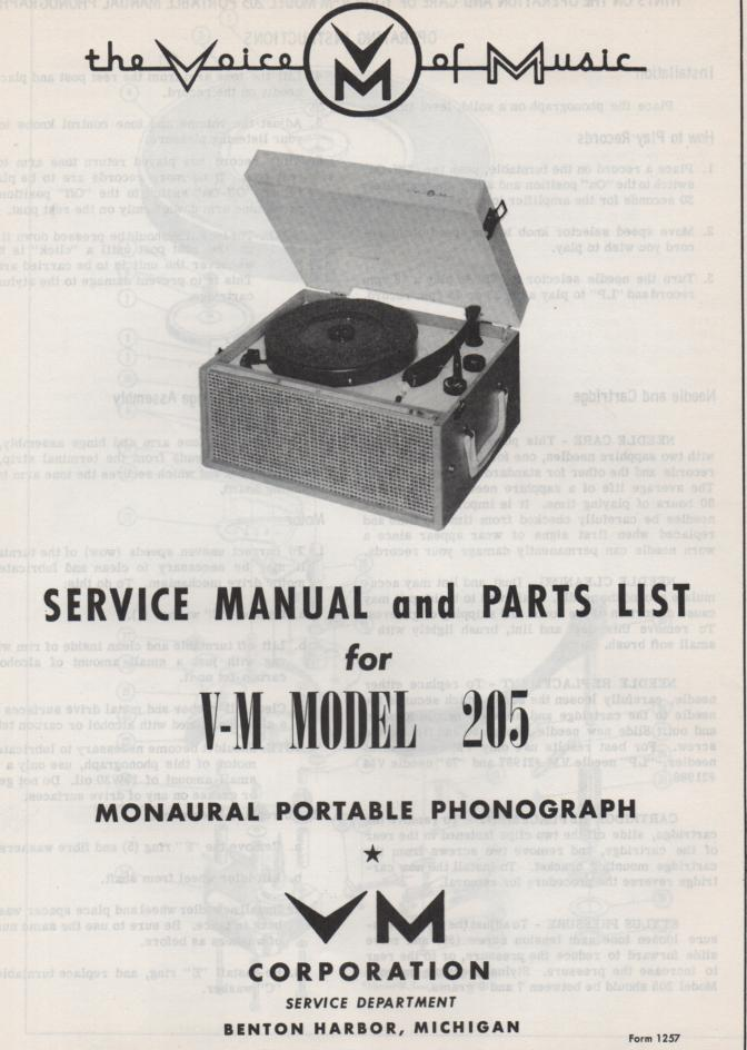 205 Portable Phonograph Service Manual