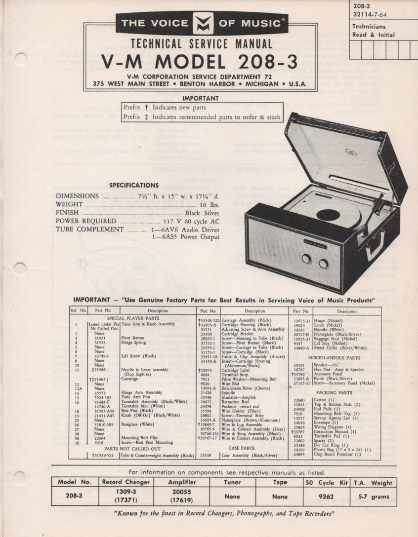 208-3 Phonograph Service Manual.  Comes with 20055 amplifer and 1300 record changer manuals..