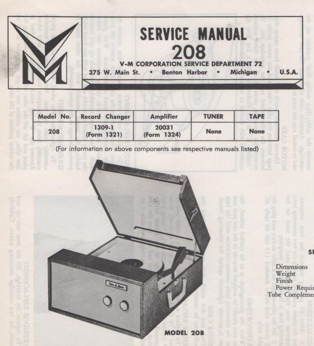 208 Portable Phonograph Service Manual.  Comes with 1309 record changer manual and 20031 manual.