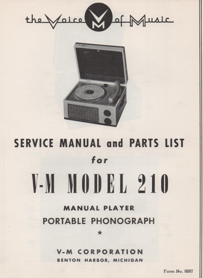 210 Portable Phonograph Service Manual