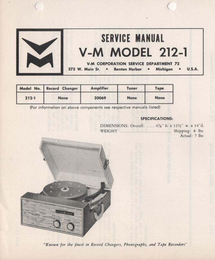 212-1 Portable Phonograph Service Manual.   comes with 20069 power supply manual.