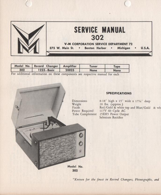 302 Portable Phonograph Service Manual.   Comes with 1223 turntable manual and 20025 power unit manual..