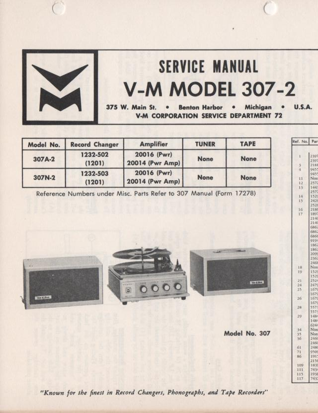 307-2 Portable Phonograph Service Manual..Comes with 1201 turntable manual and 20014 and 20016 power amp manuals..