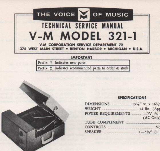 321-1 Phonograph Service Manual .   Comes with 20070 manual