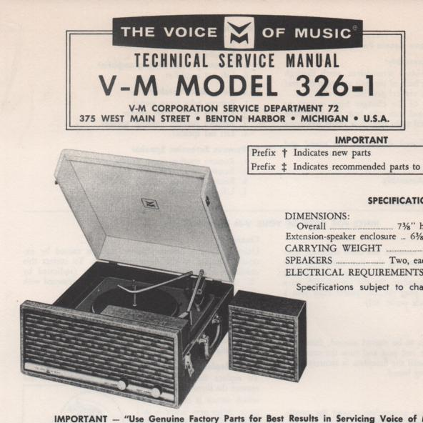 326-1 Phonograph Service Manual.   Comes with B1257 and 20065 manuals...