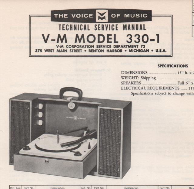 330-1 Phonograph Service Manual.   comes with B!@%& and 20076 manuals