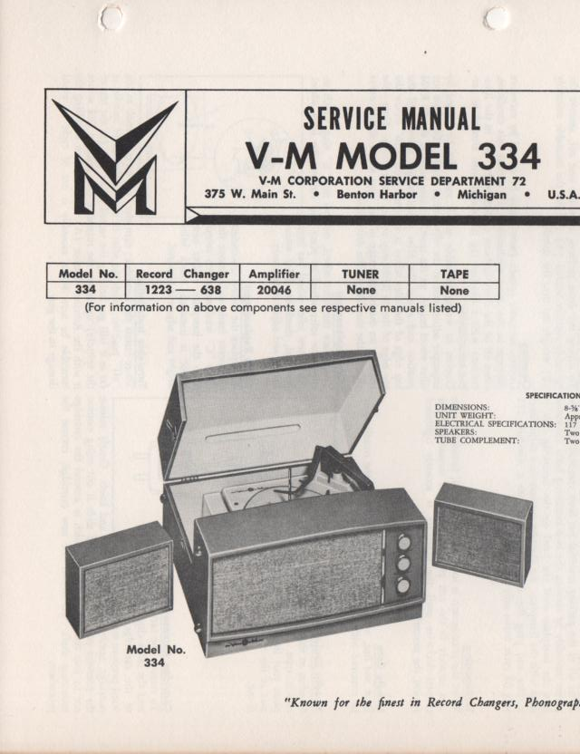 334 Portable Phonograph Service Manual Comes with 1223 and 20046 manuals