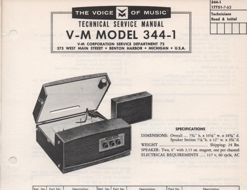 344-1 Portable Phonograph Service Manual Comes with 1257 record changer manual.