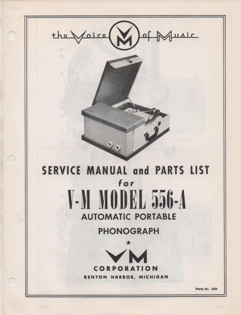 556-A Portable Phonograph Service Manual