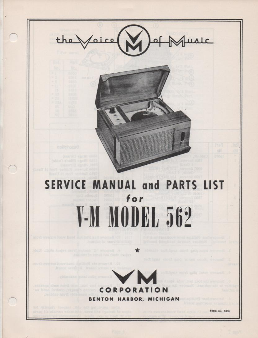 562 Portable Phonograph Service Manual