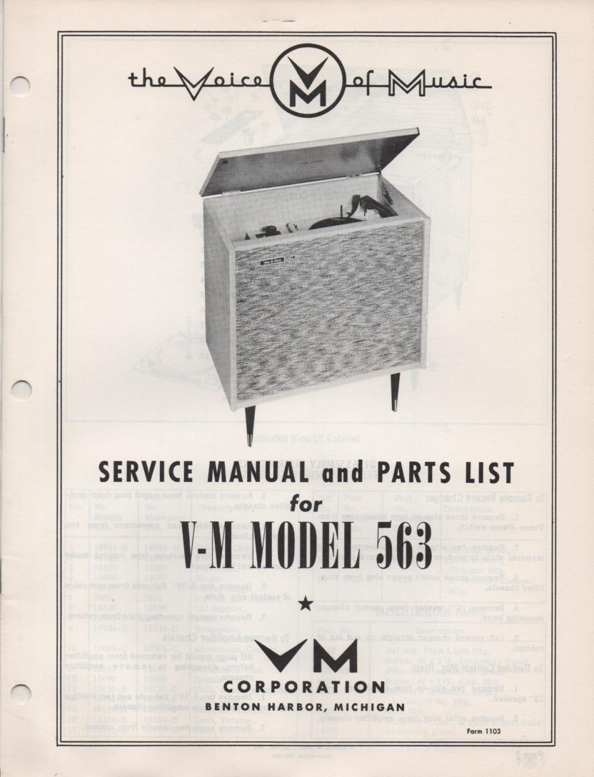 563 Console Phonograph Service Manual
