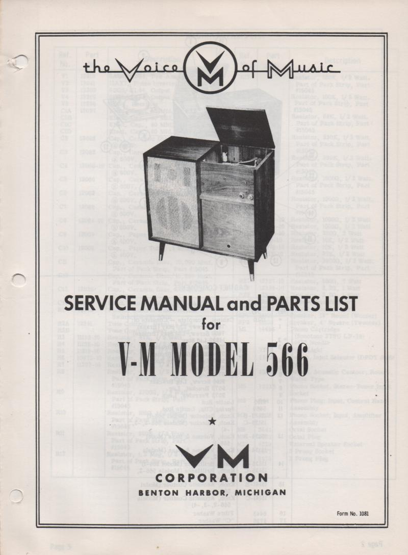566 Console Phonograph Service Manual
